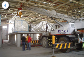 Installing high-level fleshing machine to be served by conveyors